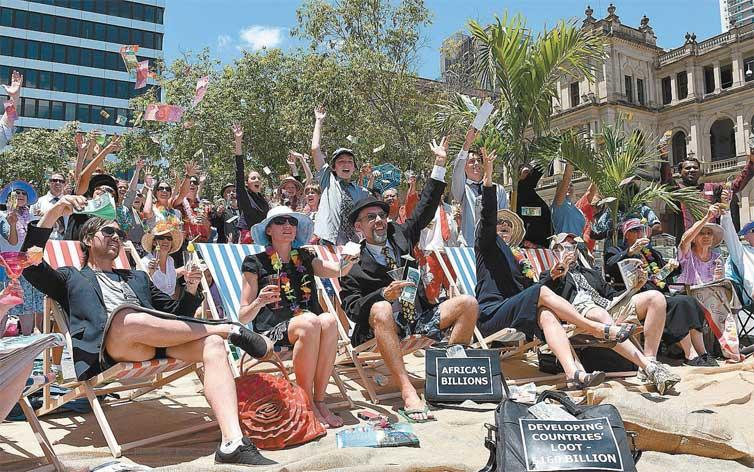 Manifestantes contrários à reunião do G20 em Brisbane. Crédito Dave Hunt-8.nov.14/Efe