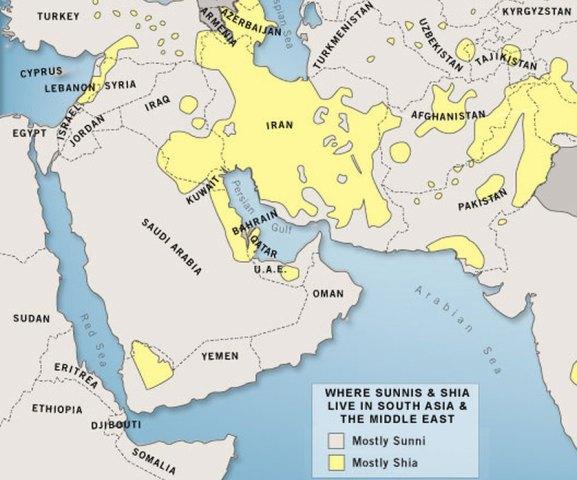 A mancha amarela, no mapa, marca regiões xiitas. Crédito