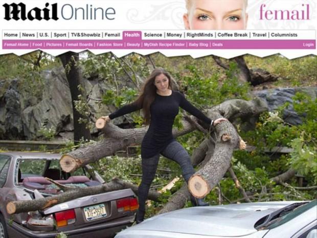 "A modelo Nana Gouvêa, na capa do ""Daily Mail"". Crédito Reprodução"