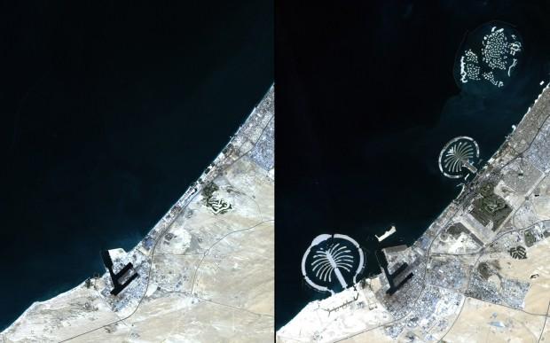 A costa de Dubai entre novembro de 2001 e novembro de 2012