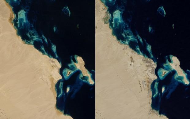 Hurghada, no Egito, em janeiro de 1985 e novembro de 2014.