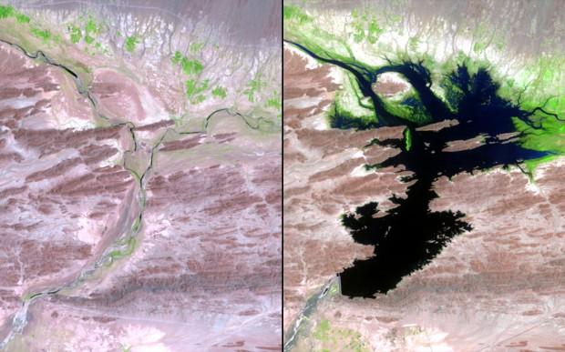 A represa de Mirani, no Paquistão, entre agosto de 1999 e junho de 2011