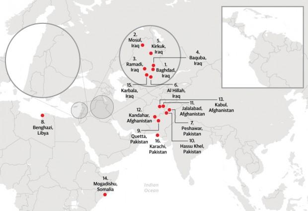 Mapa com cidades sob maior risco de atentados. Clique para ampliar.