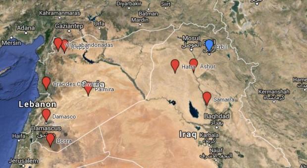 Mapa do patrimônio da humanidade na Síria e no Iraque. Crédito Orientalíssimo