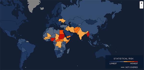 "Mapa do projeto ""Early Warning"". Crédito Reprodução"