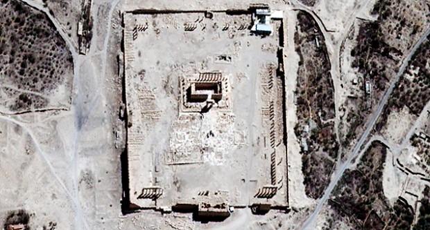 Templo de Bel antes da destruição, em imagem de satélite.