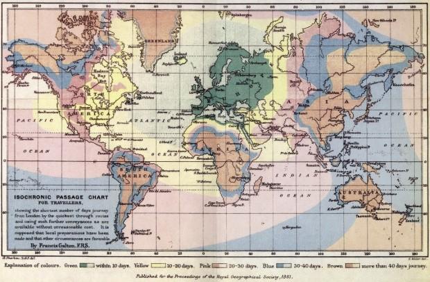 Mapa de Francis Galton, em 1881. Clique para ampliar.