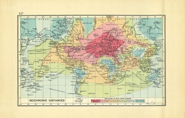 Mapa mostra duração de viagens em 1904, a partir de Londres. Clique para ampliar.
