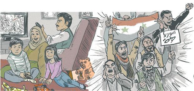 Ilustração da artista tunisiana Gihèn Ben Mahmoud sobre o confronto sírio. Crédito Reprodução
