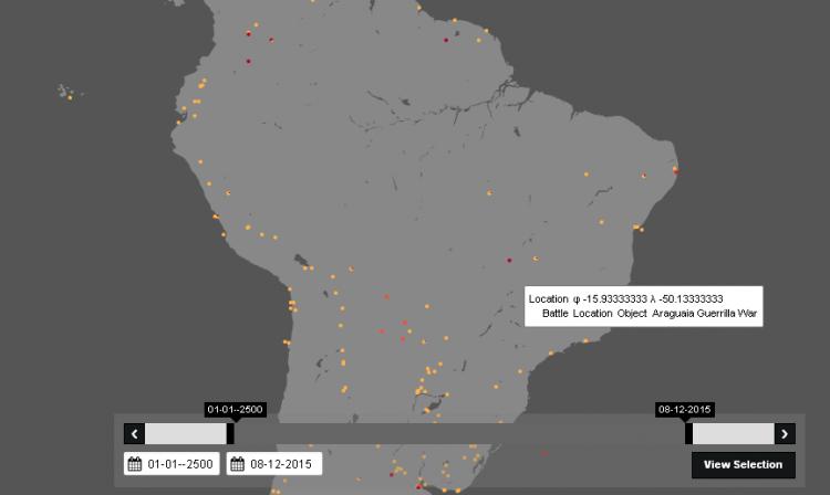 Mapa compilando batalhas travadas no Brasil. Crédito Reprodução