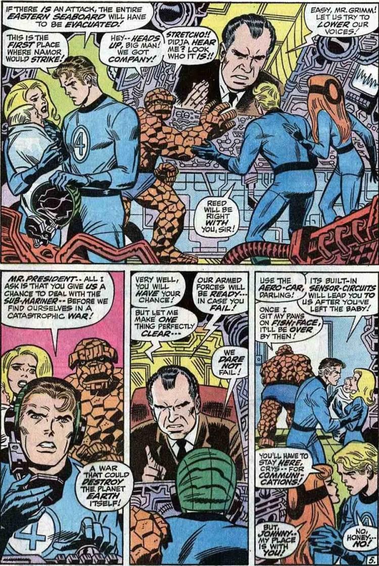 Nixon e o Quarteto Fantástico, nos anos 1970. Crédito Reprodução