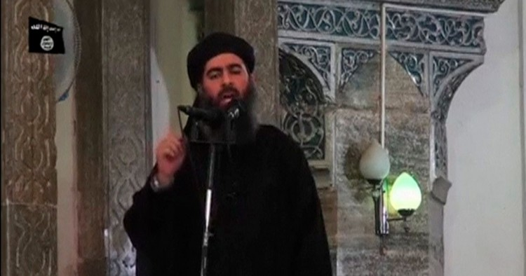 Abu Bakr al-Baghdadi durante discurso em Mossul, em 2014. Crédito Reuters