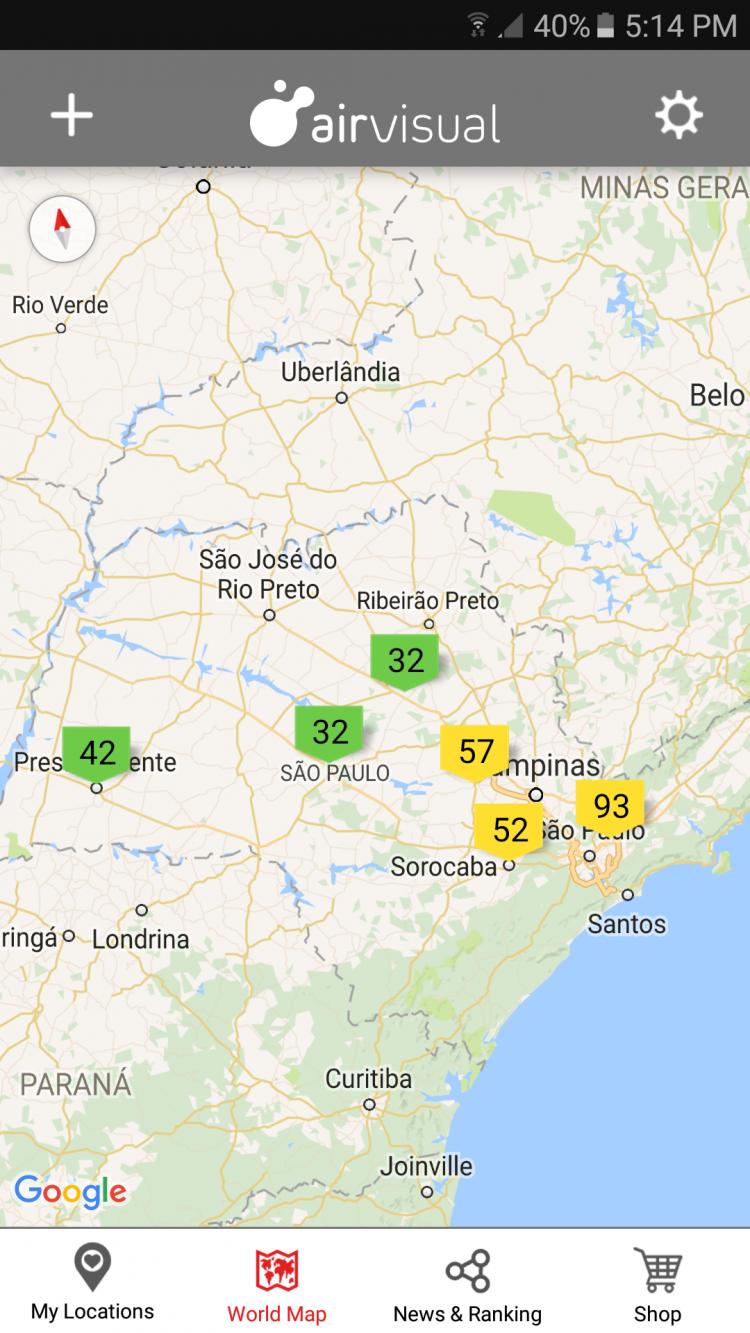 Índice de qualidade do ar na região do Estado de São Paulo. Crédito Reprodução/AirVisual