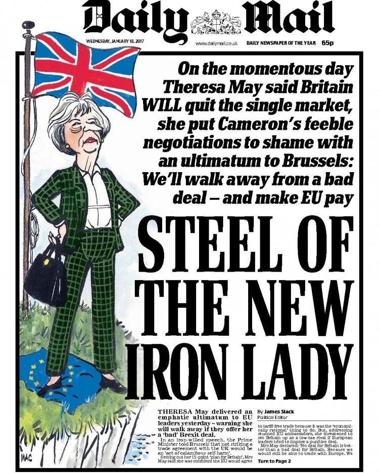 """Capa do """"Daily Mail"""", retratando Theresa May como uma versão de Margaret Thatcher. Crédito Reprodução"""