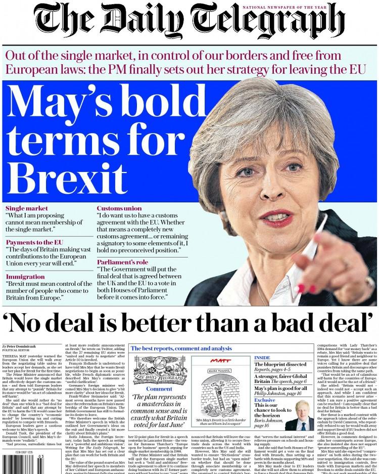 """Capa do """"Telegraph"""". """"Não ter um acordo é melhor do que um acordo ruim"""". Crédito Reprodução"""