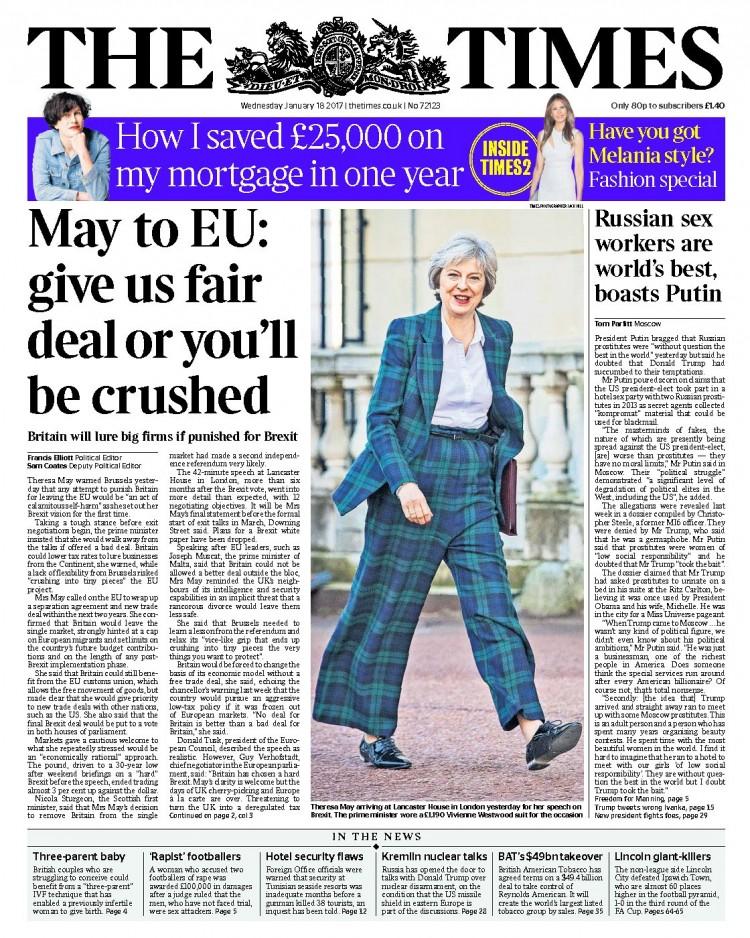"""Capa do """"The Times"""". """"Nos dê um acordo justo ou vocês vão ser esmagados"""". Crédito Reprodução"""