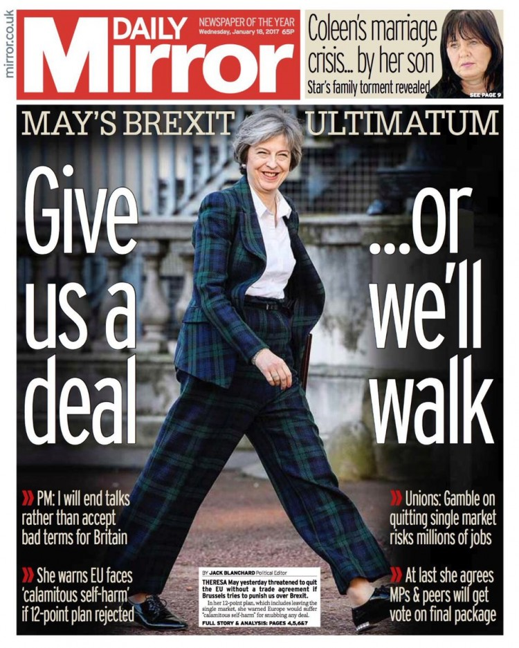 """Capa do """"Daily Mirror"""". """"Nos dê um acordo, ou vamos embora"""". Crédito Reprodução"""