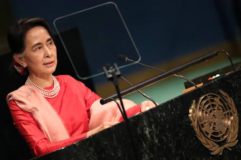 Aung San Suu Kyi fala na Assembleia Geral da ONU em 2016 (Crédito: Carlo Allegri - 13.set.2016/Reuters)