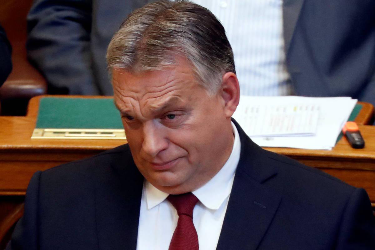 O primeiro-ministro húngaro, Viktor Orbán, durante senssão no Parlamento de Budapeste, em 17 de setembro de 2018